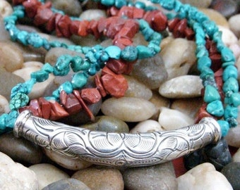 Turquoise Necklace, Red Jasper, Silver Necklace, Tribal, N137