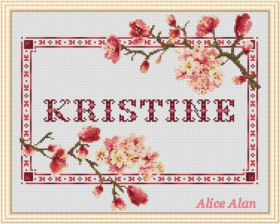 Cross Stitch Pattern Sampler Name Kristine Font Romantic