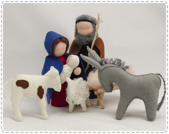 5 pieces Waldorf Nativity Set. Christmas. Nativity Scene. Holy Family. Christmass nativity. Miniature nativity.