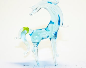 Glass figurine Horse with a mane handmade One of a kind #377