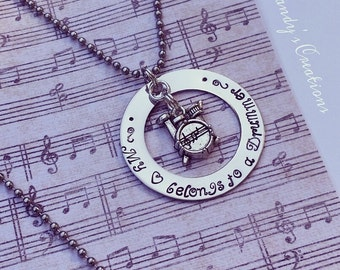 My Heart Belongs to a Drummer, Drummer Necklace, Drummer Jewelry,Gift for a Drummer's Wife,Stamped Necklace, Music Jewelry, Drummer Keychain