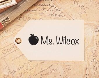 School Teacher Stamp, Back to School, Teacher Gift, Apple Stamp, Teacher Appreciation Gift, Personalized Name Stamp, HT100