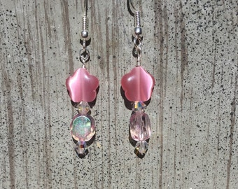 Pink shell flower and glass bead earrings on silver tone hooks
