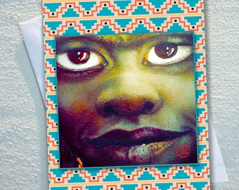 """First people GREETING card ,AUSTRALIAN  Indigineous women, with aztec style frame,ecofriendly,sustainable card,4.13"""" x 5.82"""""""