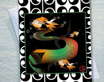 """GOLDFISH card,GOLDFISH cartoons,colourful orange and black 3D goldfish,retro design background,ecofriendly,sustainable card,4.13"""" x 5.82"""""""