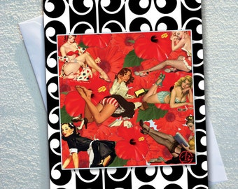 """Vintage PINUP girls ,vintage art GREETING card,RETRO pin up girls,retro framed,ecofriendly,sustainable card,4.13"""" x 5.82"""""""
