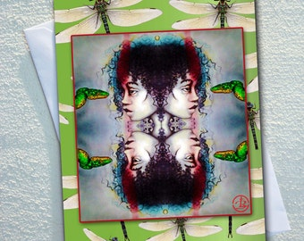 "GREEN tree snake GREETING card, Indigenous women with green tree snake,framed by dragonfles,ecofriendly,sustainable card,4.13"" x 5.82"""