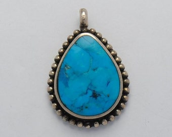 Turquoise pendant drop shape native american and sterling silver