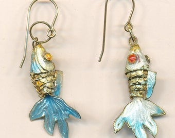 Vintage Enamel Cloisonne Reticulated Goldfish Earrings, amazing detail, g/f wire
