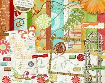 "Spring Digiscrap Kit - ""Punch of Color"" has bright bursts of orange, red, green and aqua with glitter and beads for digital scrapbooking"