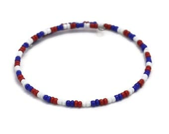 US Flag Bracelet - Independence Day USA - Stackable Bracelets - Patriotic Jewelry - Summer Bracelet - USA Bracelet - 4th of July Jewelry