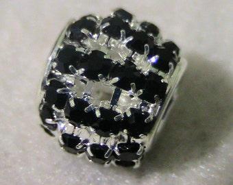 Deep Blue Crystal and Silver European Charm