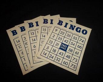 Vintage Bingo Cards, set of 5