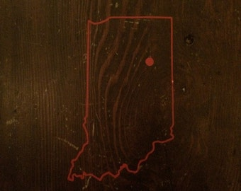Red Indiana Outline Sticker