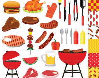 BBQ Clipart , Barbeque Clipart , Summer Clipart ,Grill Party Food Clipart BBQ Barbecue Steak Clipart vector graphics Food hamburgers Camping