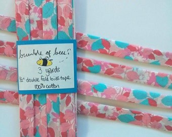 "Pink and Blue Leafy Floral Robert Kaufman London Calling 5 ""Blush"" Double Fold Bias Tape - 3 yards, 1/2"" wide"