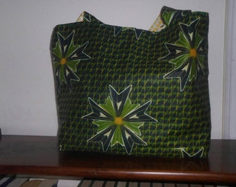 Green African Print tote
