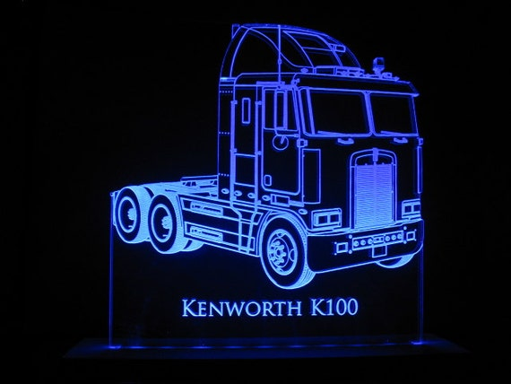 kenworth k100 semi truck edge lit led acrylic light up sign. Black Bedroom Furniture Sets. Home Design Ideas