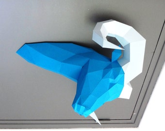 "DIY Paper Sculpture Animal head Trophy ""the Ram"","
