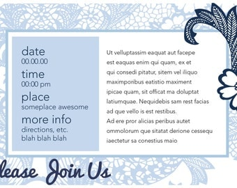 Blue Toille Invitation