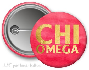 "ChiO Chi Omega Watercolor Faux Foil Single or Bulk 2.25"" Pinback Button"