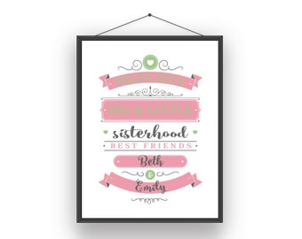 DZ Delta Zeta Big Little Sorority Sister Print - Ready To Frame Customize With Names
