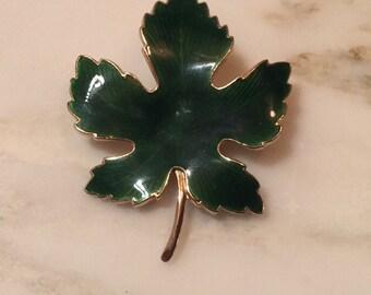 Vintage enameled green leaf gold tone brooch
