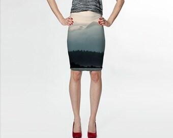 Scenic Fitted Skirt, Dark Skirt, Knee Length Skirt, Womens Clothing, Nature Skirt, Printed Skirt, Ocean Skirt, Fitted Skirt, Pencil Skirt