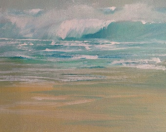 Breaking wave at Pendower, Cornwall.Acrylic block canvas