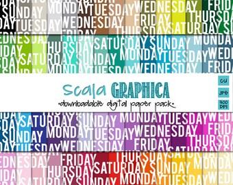 Week Days Digital Paper Basic 16 [Instant Download]