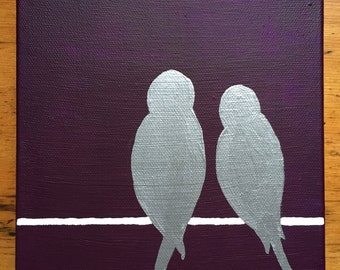 Lovebirds on a Line Painting