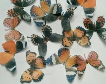 Edible Wafer Paper Butterflies - Orange - Black