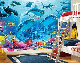 Dolphins, Sea Bottom Wall mural, Wallpaper, Wall décor, Wall decal, Nursery and room décor, Wall art