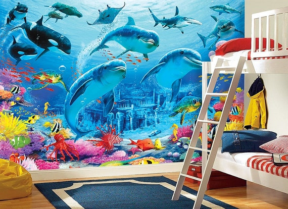 Dolphins sea bottom wall mural wallpaper wall d cor wall for Dolphins paradise wall mural