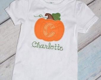 Fall Pumpkin Initial Applique Shirt Personalized Girls or Boys
