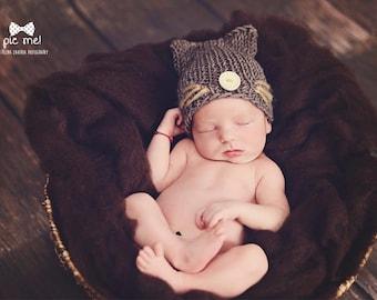 Cat hat newborn baby hat / knitted baby hat / newborn photo prop