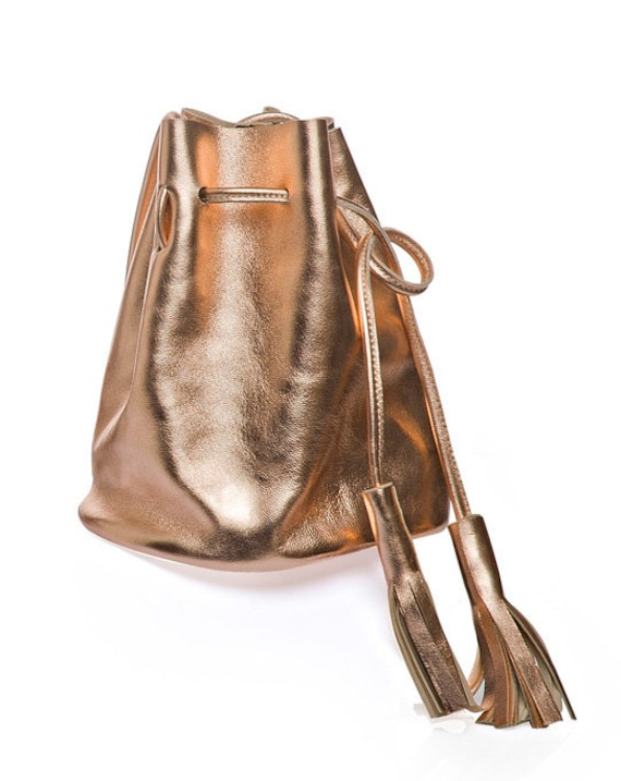Rose gold leather bucket bag small copper leather bucket bag
