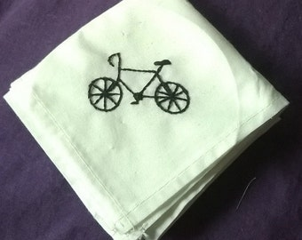 Hipster Fixie Bike Hanky, Hand-Embroidered Cotton Handkerchief