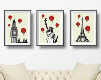 Poster Set of 3 Vintage city and red ballons prints - London Big Ben - New York art - Paris Eiffel Tower - rustic home decor - NG20