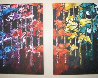 Rainbow trees, Acrylic Painting