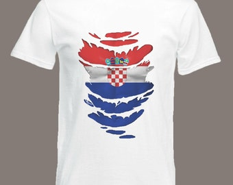 Croatia Flag T-Shirt  see Muscles through Ripped T-Shirt  in all sizes