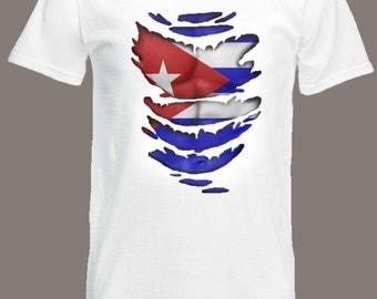 Cuban Flag T-Shirt  see Muscles through Ripped T-Shirt Cuba in all sizes