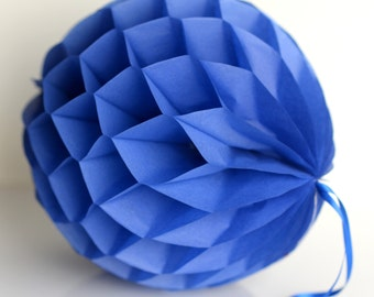 Parade / royal blue Tissue paper honeycombs -  hanging wedding party decorations