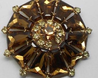 PRICE REDUCED! Vintage Juliana Fancy-Cut amber rhinestone flower brooch