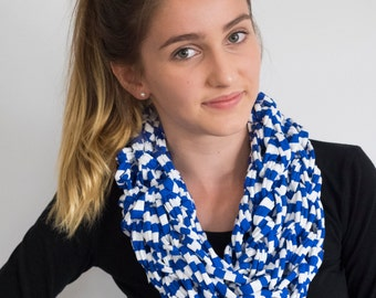 Greek Me Up Blue and White Stripe Cotton Cowl