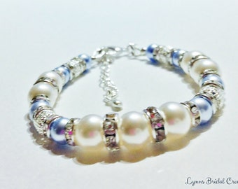 Blue Pearl Bracelet Wedding Jewelry Swarovski Crystal Pearls Baby Blue Bridal Jewelry Bridesmaid Gift Powder Blue Bridal Bracelet