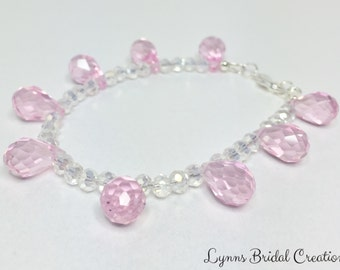 Pink Crystal Bracelet Bridesmaid Gift Crystal Jewelry Bridesmaid Bracelet Wedding Jewelry Pink Drop Crystal Jewelry Set Baby Pink