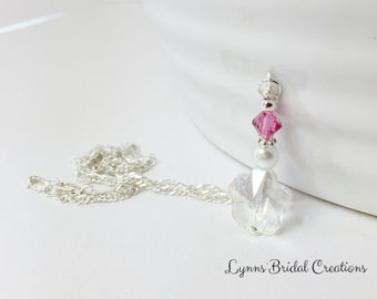 Pink Crystal Pendant Necklace Wedding Jewelry Bridesmaid Necklace Crystal Necklace Swarovski Crystal Flower Pendant Mother of the Bride Gift