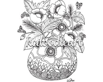 digital download coloring page - flowers in a vase