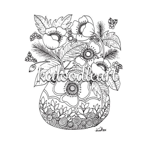 Digital download coloring page flowers in a vase for Flowers in vase coloring pages